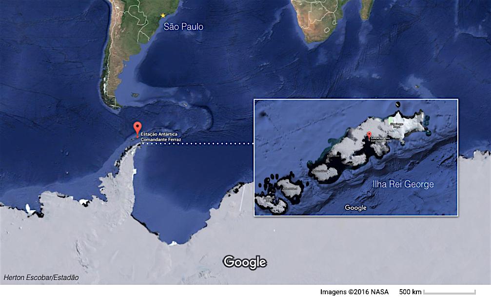 Localização da nova base antartica brasileira